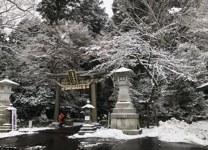 雪化粧の塩竈神社