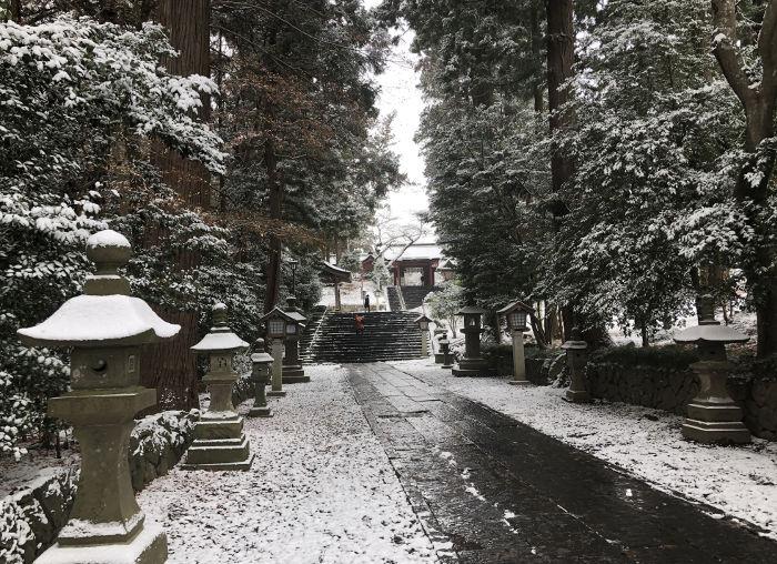 雪化粧の参道