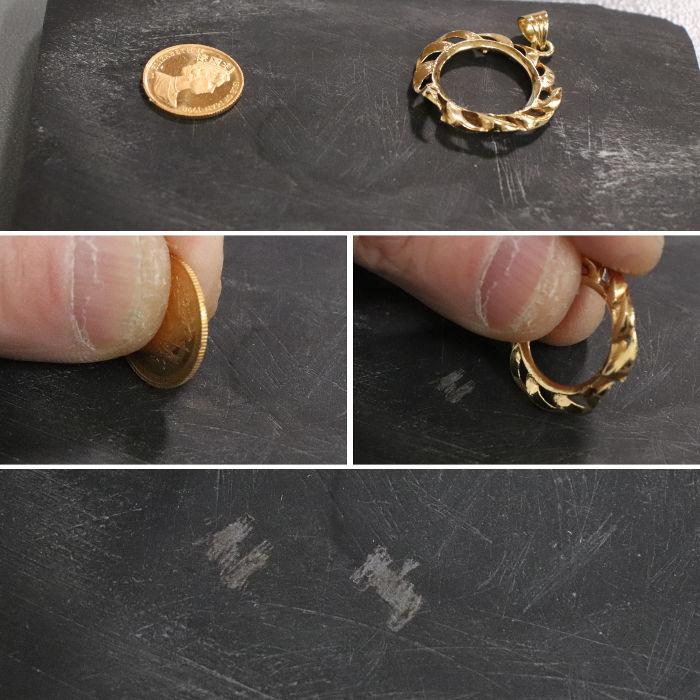 試金石に擦りつけた痕跡