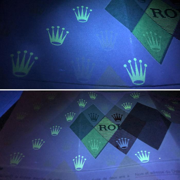 保証書の紫外線反応