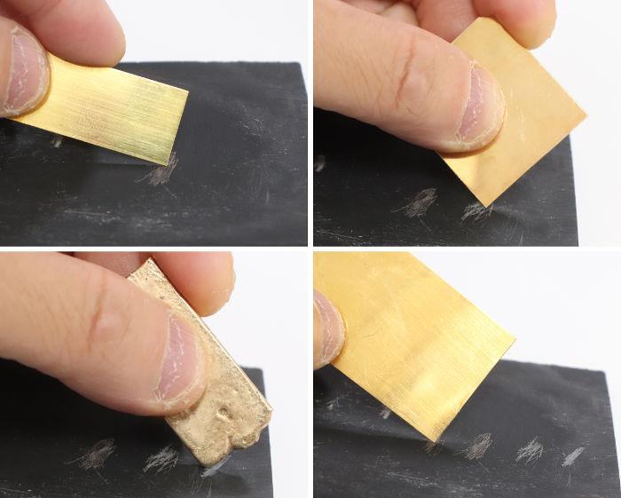 金色物体を試金石に擦りつける
