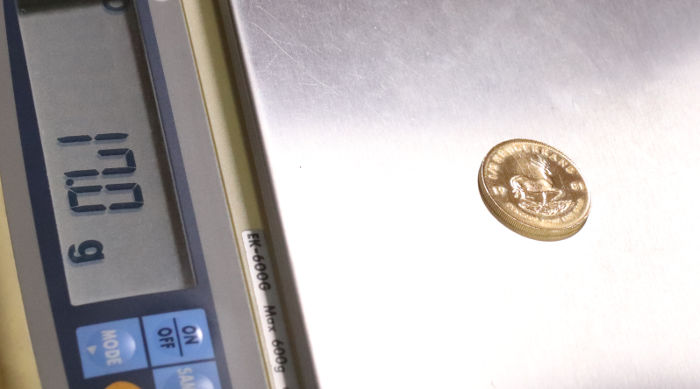 ルーガーランド金貨の重量